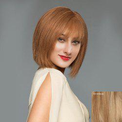 Short See-through Fringe Straight Blunt Bob Human Hair Wig - BLONDE