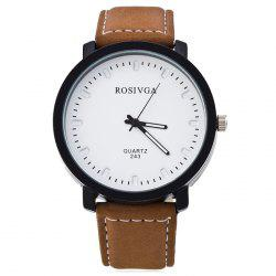Faux Leather Strap Round Analog Watch -