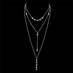 Long Pendant Crystal Layered Necklace -