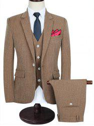 Slim-fit Pinstripe Three Piece Business Suit - Brun 2XL