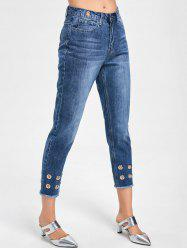 Grommets Decorated Raw Hem Capri Jeans -