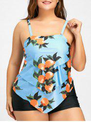 Plus Size Tiered Tankini Set - LIGHT BLUE 4XL