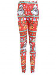 Christmas Bell Santa Claus Print Plus Size Leggings -