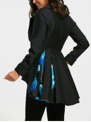 Floral Print High Low Skirted Blazer - BLACK XL