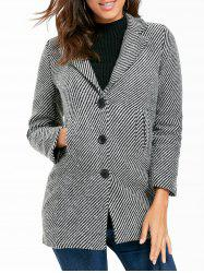 Button Down Stripe Tweed Coat -