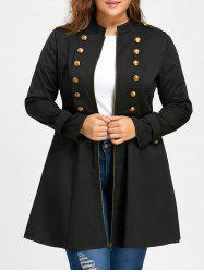 Plus Size Double Breasted Epaulet Flare Coat - Black - 5xl