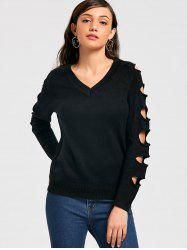 Distressed V Neck Sweater - BLACK ONE SIZE
