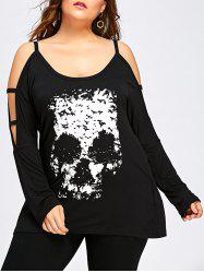 Halloween Plus Size Skull Open Shoulder Top -