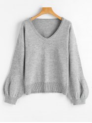 V Neck Lantern Sleeve Oversized Sweater -