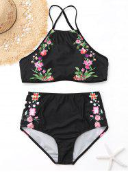 Criss Cross Floral High Neck Swimsuit Bikini -