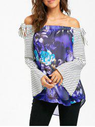 Striped  Floral Print Off The Shoulder Tunic Top -