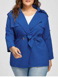Plus Size Lapel Belted Raglan Sleeve Jacket -