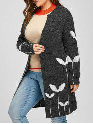 Plus Size Sprout Jacquard Drop Shoulder Cardigan -