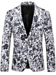 Lapel One Button Floral Faux Leather Blazer -
