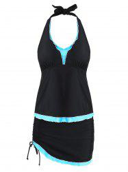 Frill Trim Plus Size Halter Tankini Set -