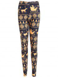 Christmas Snowflake Elk Print Plus Size Leggings -