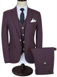 Lapel Pinstripe Three-piece Business Suit -