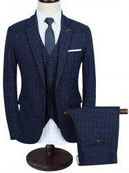 Windowpane Slim Fit Three Piece Business Suit -