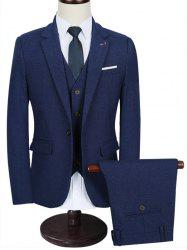 Functional Pocket Lapel Three Piece Business Suit -