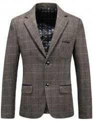 Single Breasted Chest Pocket Checked Blazer -