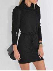 Cowl Neck Drawstring Mini Dress -