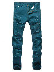 Distressed Zipper Fly Straight Leg Pants -