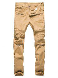 Straight Leg Pleat Distressed Biker Pants -