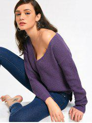 Deep V Neck Ribbed Sweater -
