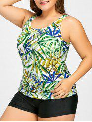 Leaf Print Plus Size Tankini Set -