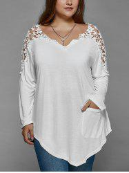 Plus Size Lace Insert Long Sleeve Tunic T-Shirt -
