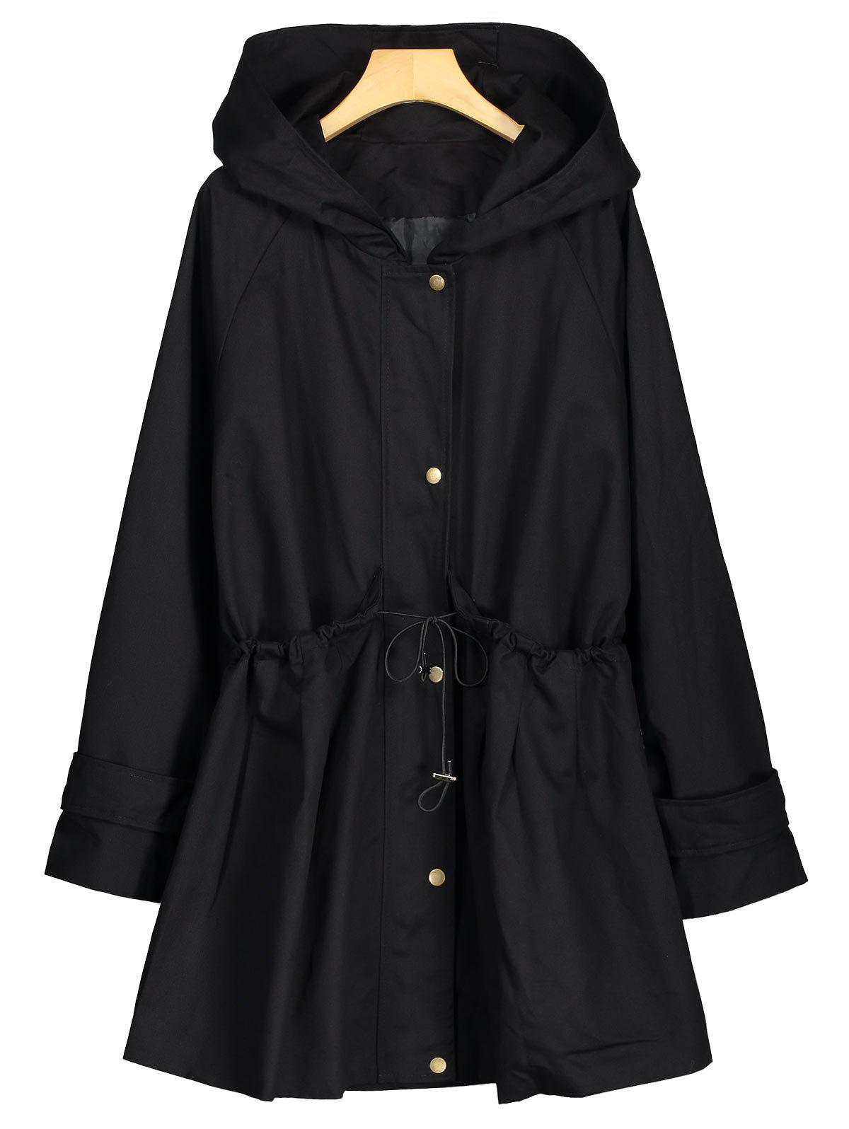 Hooded Long Plus Size Zip Up CoatWOMEN<br><br>Size: 4XL; Color: BLACK; Clothes Type: Others; Material: Polyester,Spandex; Type: Slim; Shirt Length: Long; Sleeve Length: Full; Collar: Hooded; Pattern Type: Solid; Style: Fashion; Season: Fall,Winter; Weight: 0.9300kg; Package Contents: 1 x Coat;