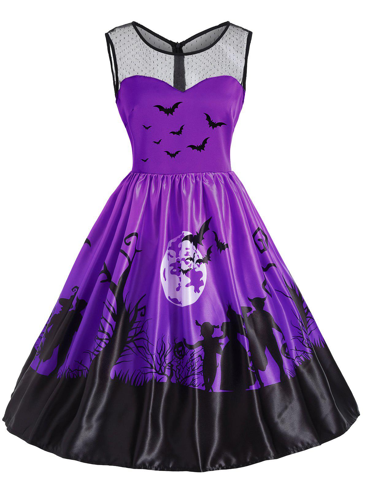 Mesh Yoke Halloween Bat Moon Print DressWOMEN<br><br>Size: 2XL; Color: PURPLE; Style: Vintage; Material: Cotton,Polyester; Silhouette: A-Line; Dresses Length: Knee-Length; Neckline: Round Collar; Sleeve Length: Sleeveless; Embellishment: Mesh; Pattern Type: Ombre,Print; With Belt: No; Season: Fall,Spring,Summer; Weight: 0.3500kg; Package Contents: 1 x Dress;