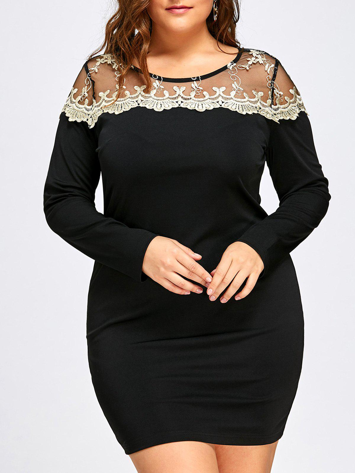 Plus Size Mesh Panel Mini Bodycon DressWOMEN<br><br>Size: 2XL; Color: BLACK; Style: Casual; Material: Polyester,Spandex; Silhouette: Bodycon; Dresses Length: Mini; Neckline: Round Collar; Sleeve Length: Long Sleeves; Pattern Type: Floral; With Belt: No; Season: Fall; Weight: 0.3500kg; Package Contents: 1 x Dress;