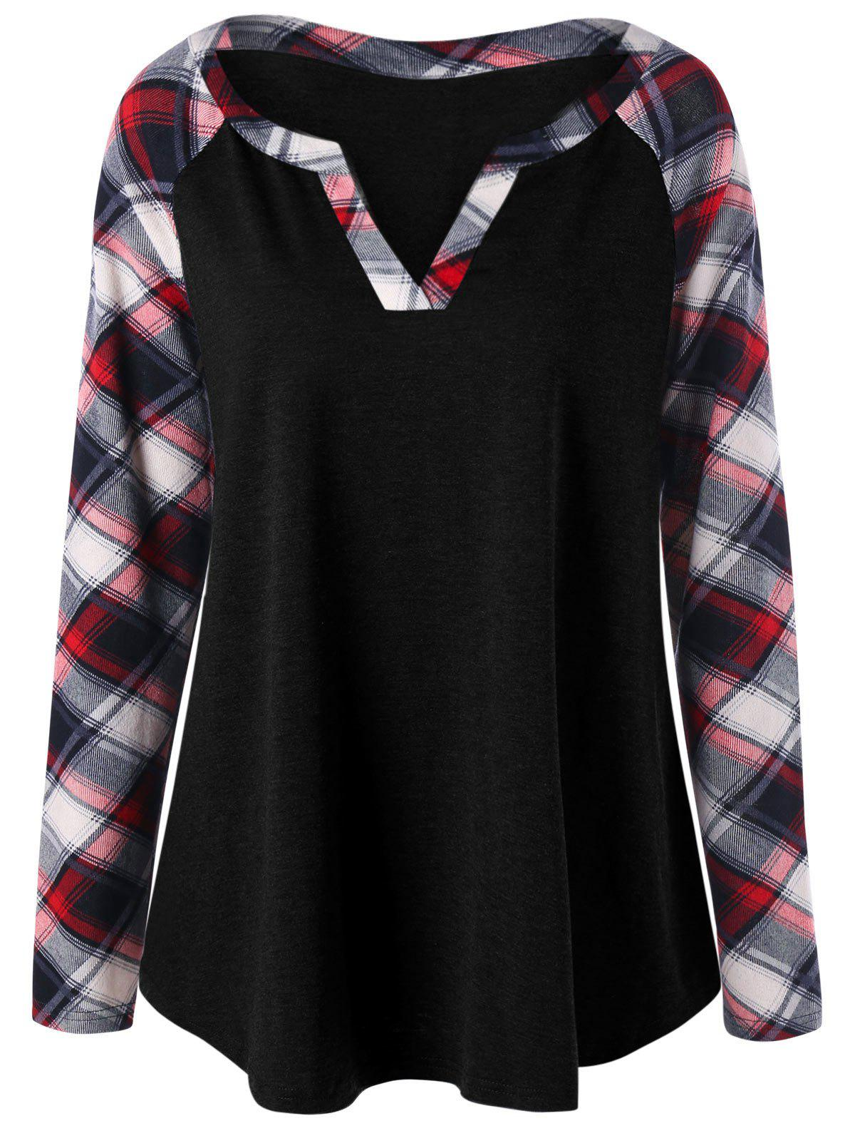 Plus Size Raglan Sleeve Plaid T-shirtWOMEN<br><br>Size: XL; Color: BLACK; Material: Rayon,Spandex; Shirt Length: Long; Sleeve Length: Full; Collar: V-Neck; Style: Casual; Season: Fall,Spring; Pattern Type: Plaid; Weight: 0.3000kg; Package Contents: 1 x Top;