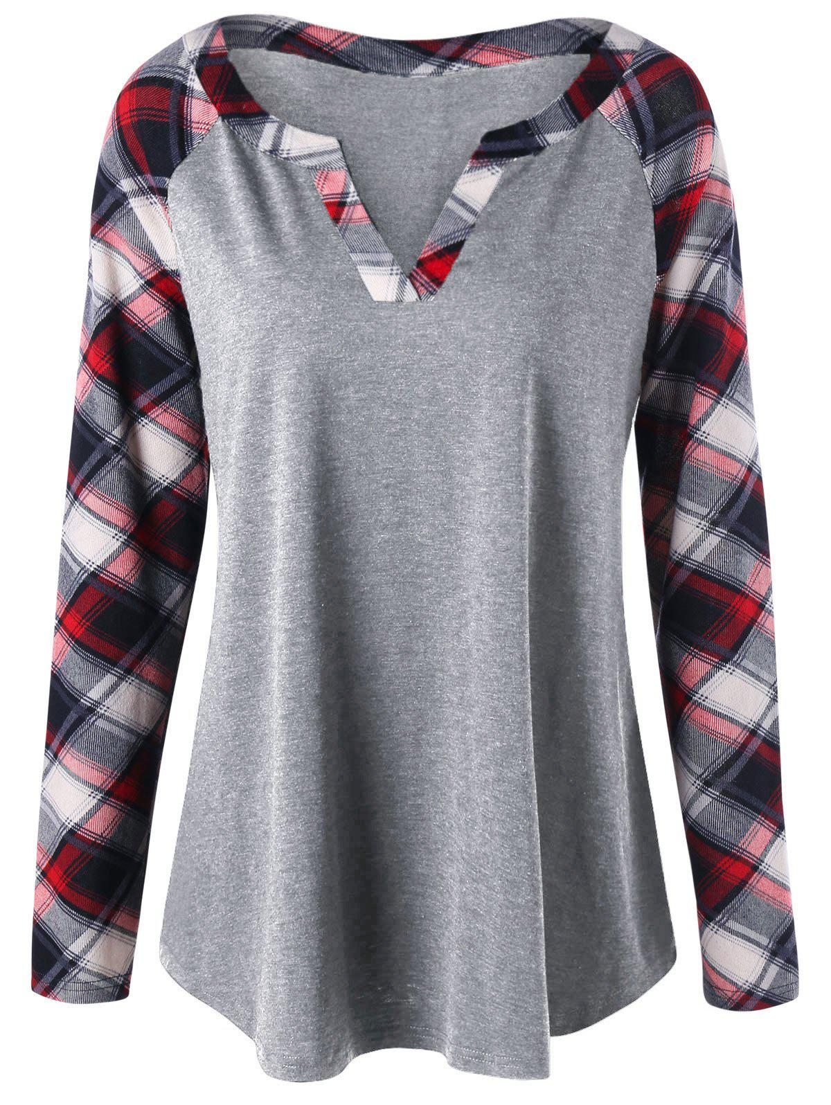 46dc800680297 2019 Plus Size Raglan Sleeve Plaid T-shirt