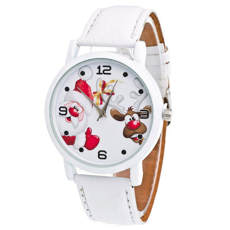 Christmas Santa Deer Face Quartz WatchJEWELRY<br><br>Color: WHITE; Gender: For Women; Style: Fashion; Type: Quartz watch; Index Dial: Analog; Case material: Alloy; Band material: PU Leather; Movement: Quartz; Dial Shape: Round; Water-Proof: No; Case Thickness(MM): 7mm; Dial Diameter: 3.8cm; Band Length(CM): 24cm; Band Width(CM): 2cm; Package Contents: 1 x Watch;