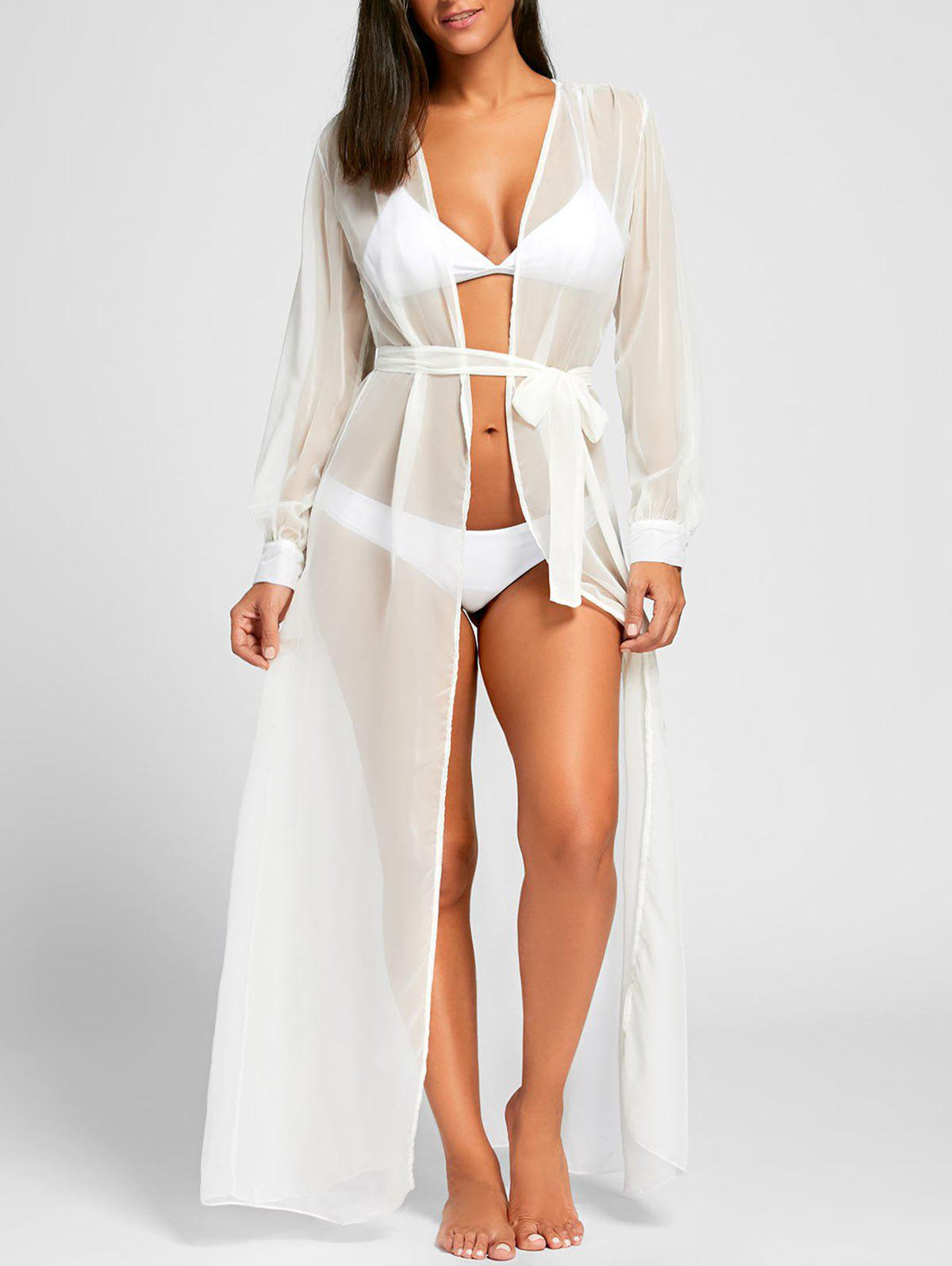 Flowy Maxi Wrap Cover Up DressWOMEN<br><br>Size: M; Color: WHITE; Cover-Up Type: Dress; Gender: For Women; Material: Polyester; Neckline: Plunging Neck; Shirt Length: X-Long; Sleeve Length: Long Sleeves; Pattern Type: Solid; Weight: 0.1800kg; Package Contents: 1 x Dress  1 x Belt;