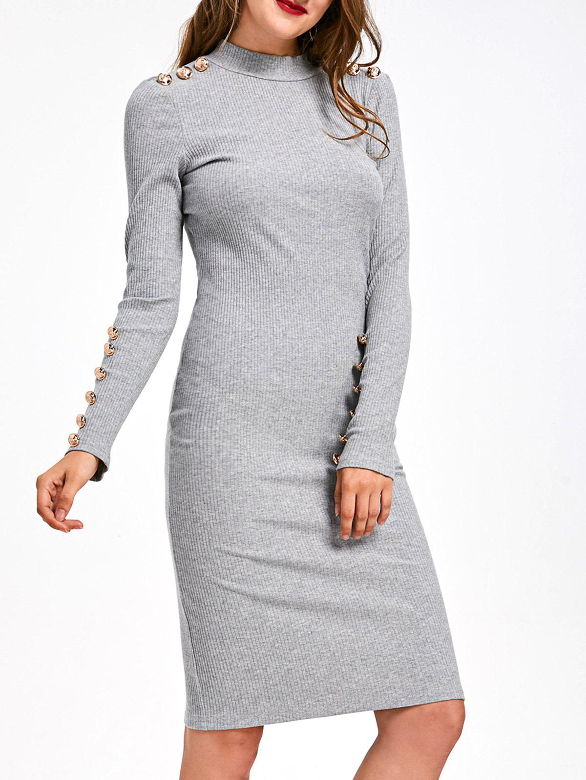 Chic Long Sleeve Ribbed Button Embellished Bodycon Dress