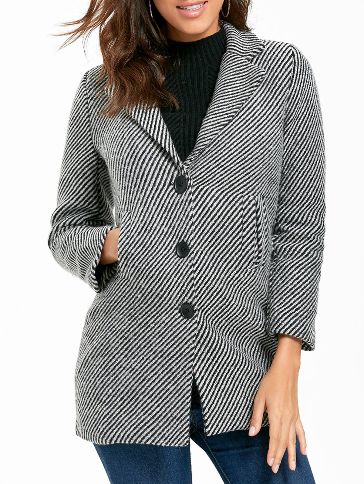 Fashion Button Down Stripe Tweed Coat