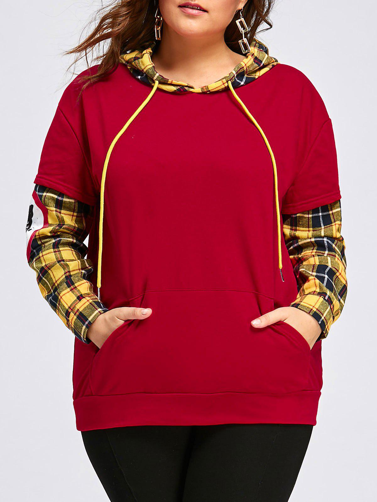 Discount Plus Size Leopard Animal Plaid Panel Loose Hoodie