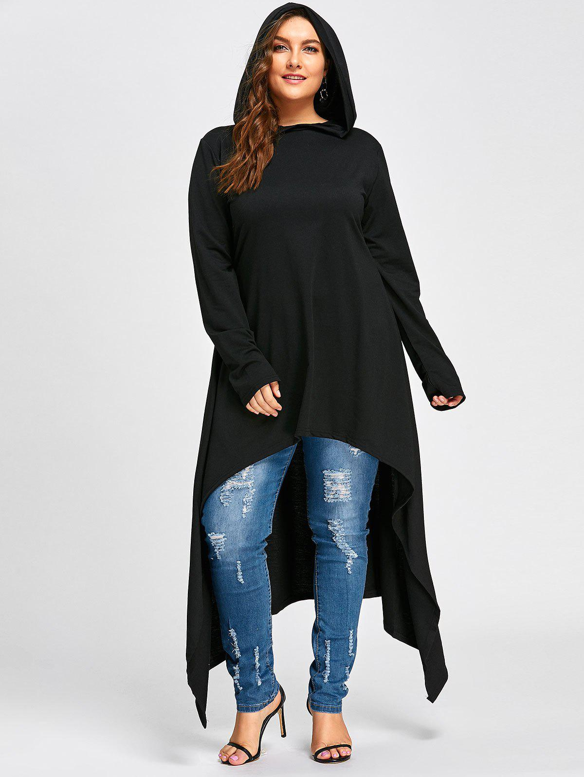 Plus Size Long High Low Hooded TopWOMEN<br><br>Size: 4XL; Color: BLACK; Material: Polyester; Shirt Length: X-Long; Sleeve Length: Full; Style: Casual; Pattern Style: Solid; Season: Fall,Winter; Weight: 0.7300kg; Package Contents: 1 x Hoodie;