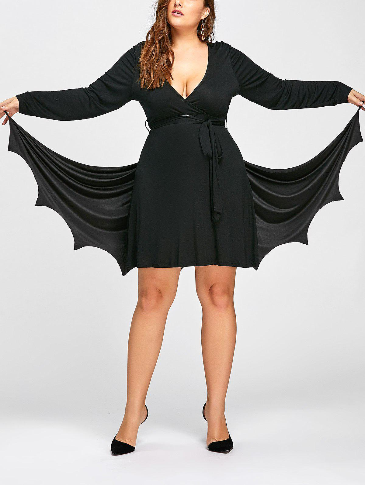 Halloween Plus Size Batwing Cape CostumeWOMEN<br><br>Size: ONE SIZE; Color: BLACK; Material: Polyester; Pattern Type: Solid; Embellishment: None; Weight: 0.1700kg; Package Contents: 1 x Cape;