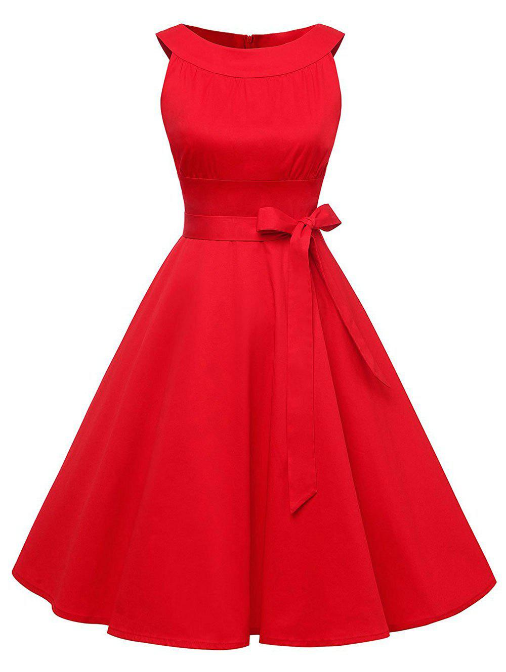 Vintage Belted Swing Pinup DressWOMEN<br><br>Size: XL; Color: RED; Style: Brief; Material: Cotton,Polyester,Spandex; Silhouette: A-Line; Dresses Length: Knee-Length; Neckline: Round Collar; Sleeve Length: Sleeveless; Pattern Type: Solid Color; With Belt: No; Season: Fall,Spring; Weight: 0.4500kg; Package Contents: 1 x Dress;