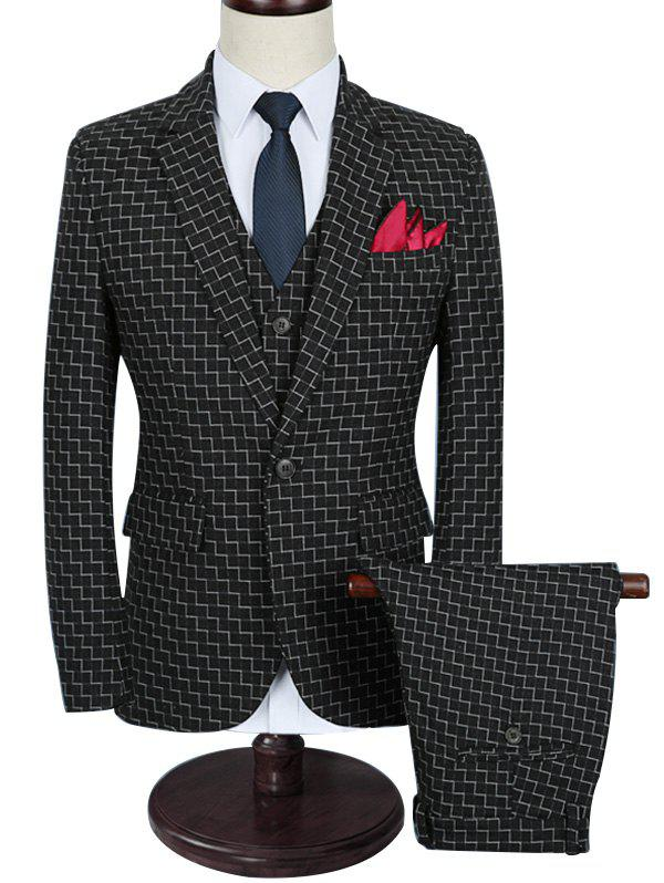 Outfit Zigzag Pattern One Button Three Piece Business Suit