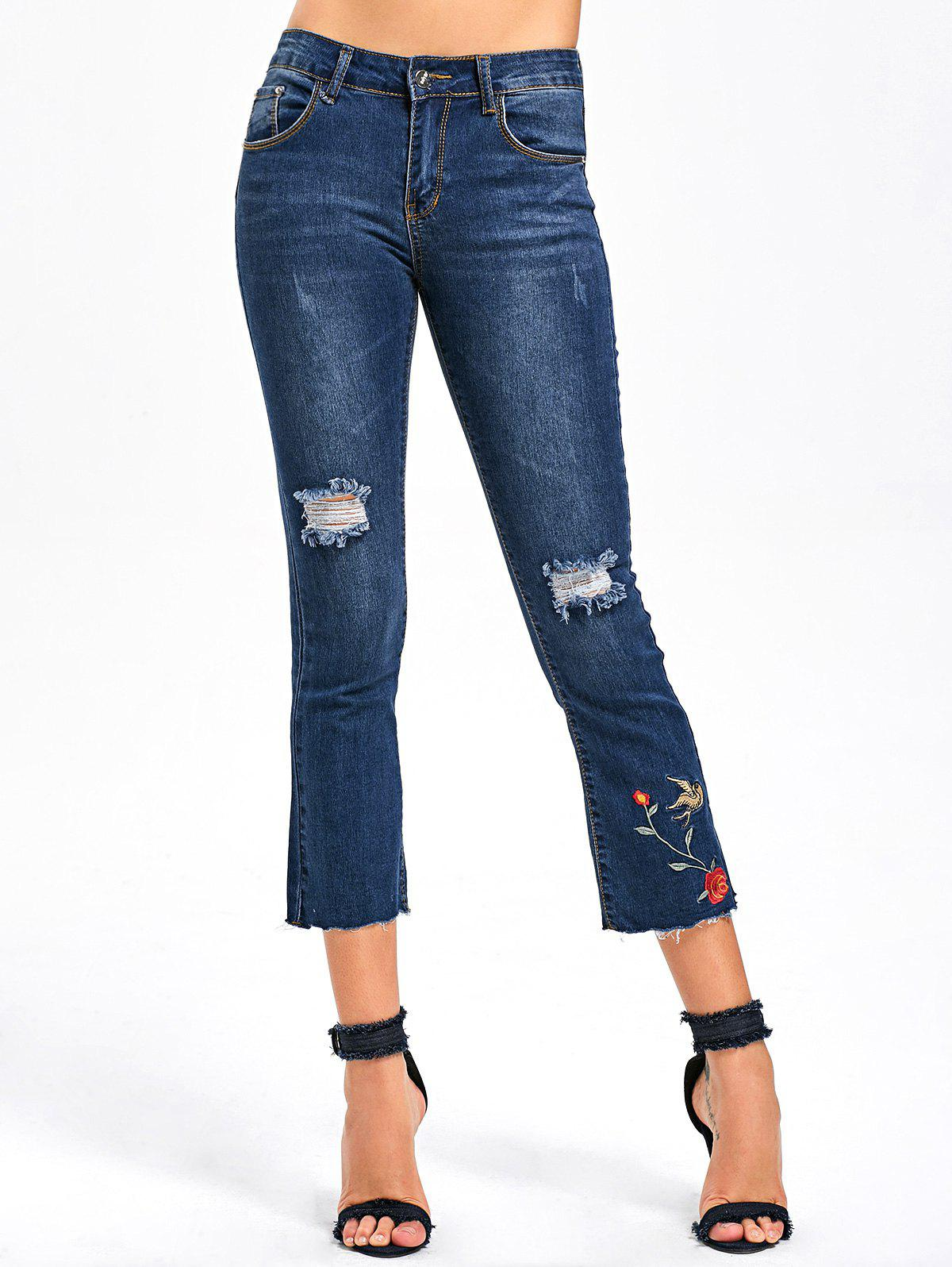Shops Ripped Embroidery Capri Jeans