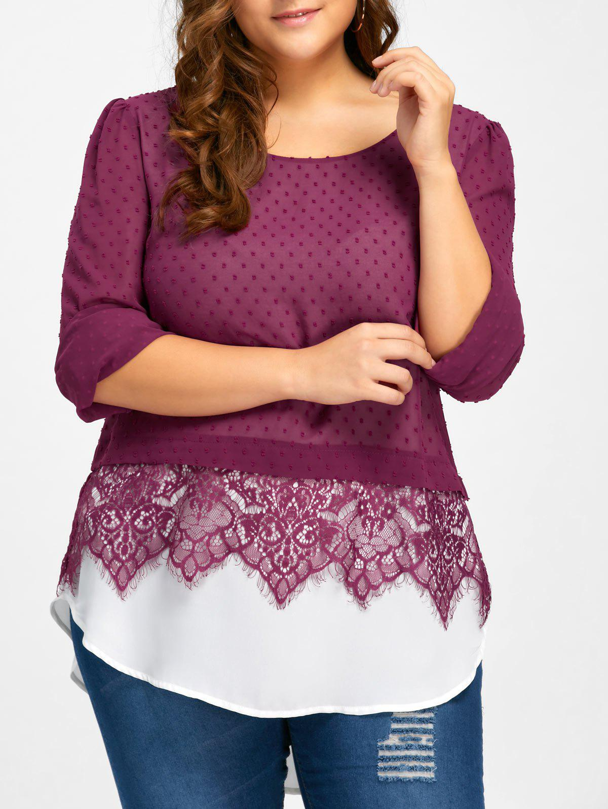 Plus Size Lace Trim Swiss Dot BlouseWOMEN<br><br>Size: 3XL; Color: PURPLISH RED; Material: Polyester; Shirt Length: Long; Sleeve Length: Full; Collar: Scoop Neck; Style: Casual; Season: Fall,Spring; Embellishment: Lace; Pattern Type: Solid; Weight: 0.2800kg; Package Contents: 1 x Blouse;