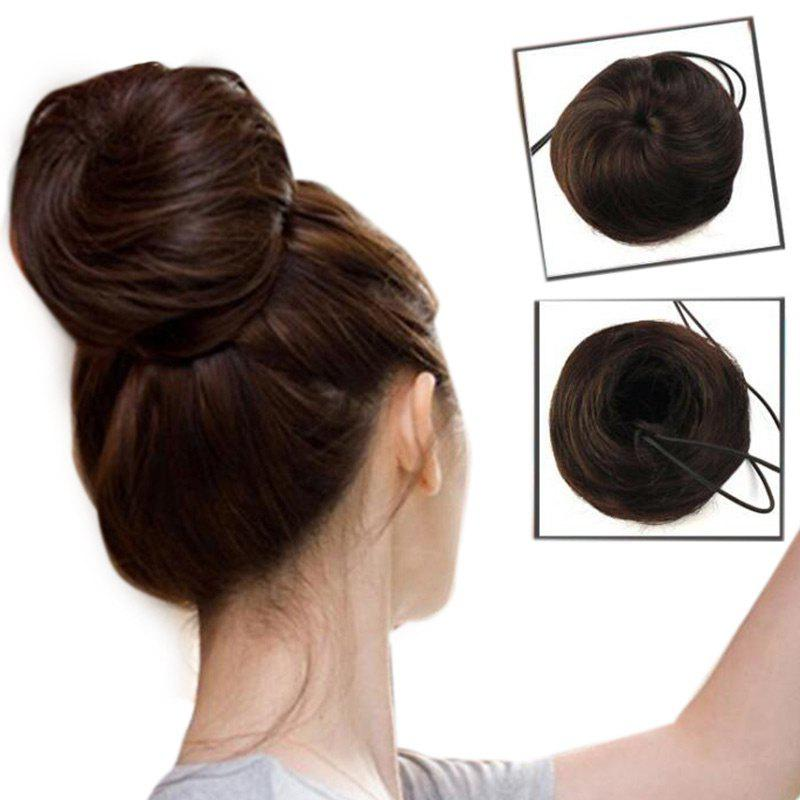 Short Chignons Synthetic Updo Bun Hair ExtensionHAIR<br><br>Color: BLACK BROWN; Hair Extension Type: Loop; Style: Straight; Fabric: Synthetic Hair; Length: Short; Weight: 0.0500kg; Package Contents: 1 x Bun Hair Extension;