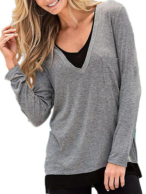 Chic Double V Neck T Shirt