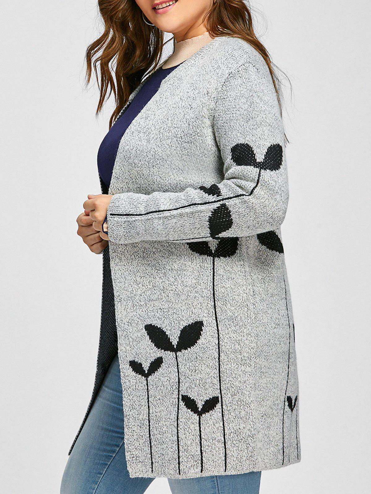 Hot Plus Size Sprout Jacquard Drop Shoulder Cardigan