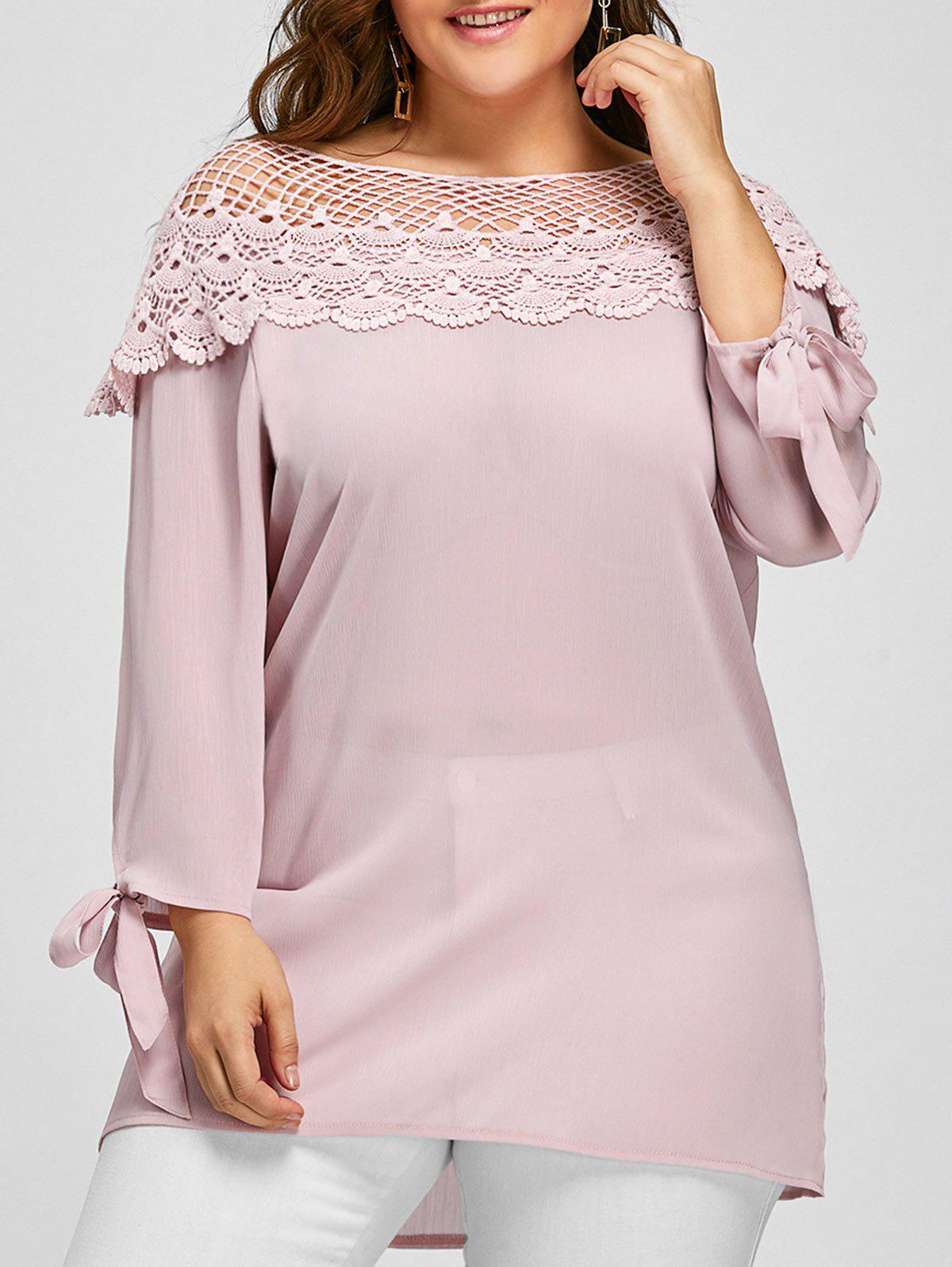 Plus Size Floral Crochet Boat Neck BlouseWOMEN<br><br>Size: 4XL; Color: CAMEO; Material: Polyester; Shirt Length: Regular; Sleeve Length: Full; Collar: Boat Neck; Style: Fashion; Season: Fall; Embellishment: Lace; Pattern Type: Solid; Weight: 0.2600kg; Package Contents: 1 x Blouse;
